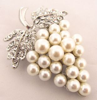 Silver Top Notch Crystal Pearl Cluster Bunch of Grapes Fruit Brooch