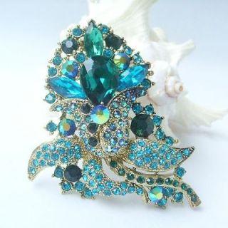 Pretty Flower Brooch Pin w Turquoise & Green Rhinestone Crystals