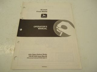 John Deere 46 inch front blade operators manual OM 75659 14 pages