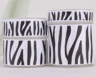 GROSGRAIN RIBBON U pick 4 width white print zebra stripe mix 5y&20y