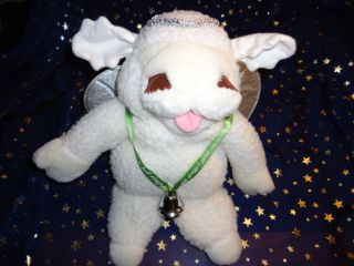 Plush 16 Puppet White Christmas Angel Baby Lamb Chop Wings Bell Halo
