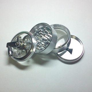 LARGE 2.5 4 PC ALUMINUM HAND CRANK TOBACCO HERB SPICE GRINDER CRUSHER