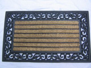WELCOME DOOR MAT NATURAL RUBBER BORDER AND COIR SIZE 18 X 30