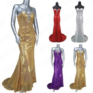 Party Mermaid Sequins Beads Wedding Feast Gowns Strapless long Dress