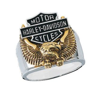 Sterling Silver Harley Davidson Mens Live To Ride Ring