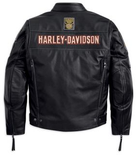 Harley Davidson Mens Black Ridge Leather Riding Jacket 97115 12vm