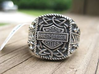 NWT Mens HARLEY DAVIDSON Silver RING Size 9 Jewelry Tribal Bar