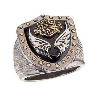 Harley Davidson Mens Silver Black Knight Ring   NEW