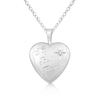 Silver My Best Friend Heart Shaped Diamond Locket Necklace