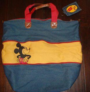 Disney Mickey Mouse Denim Adjustable Purse Tote Handbag Shopper