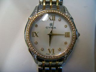 Newly listed Cyma Ladies 18ky & Stainless steel diamond watch