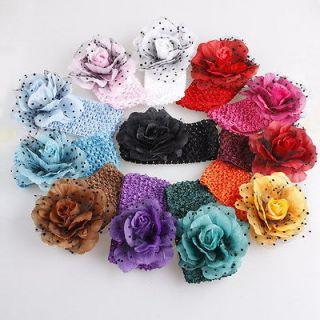 12pcs Set Baby Girl Crochet Headband With Flower Hair Accessory D58X