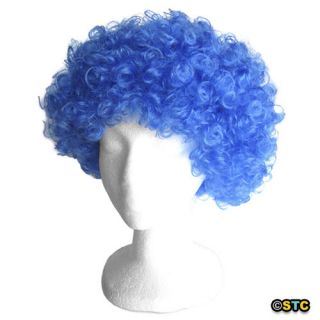 Blue Afro Wig ~ HALLOWEEN 60s 70s DISCO CLOWN COSTUME PARTY CURLY FRO