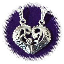 925 Sterling Silver Mother & Daughter Necklace A355