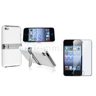 For iPod touch 4 4th G Gen White w/Chrome Stand Hard Case Cover Skin