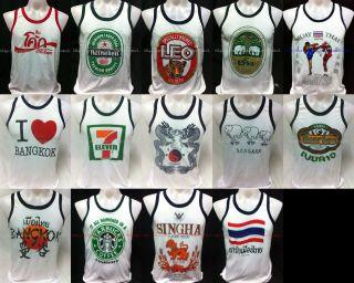 Muay Thai Woman Mens T shirt Tank Top Singlet Vest Singlets White