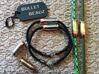 380 Auto & 9mm Bullet Beadz 550 Paracord Bracelets   Choice of Colors
