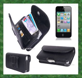 for APPLE iPHONE 4S 4G 4 3G PREMIUM LEATHER CASE WALLET ID COM CARRY