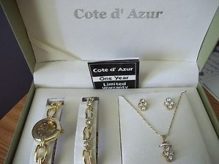 NEW WITH WARRANTY COTE D AZUR 4 PIECE SET WATCH, BRACELET, NECKLACE