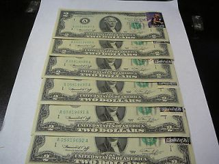 DOLLAR BILLS 6 CONSECUTIVE #S FIRST DAY ISSUE STAMP POST APRIL 13