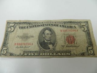 1953 5 dollar bill in United States Notes