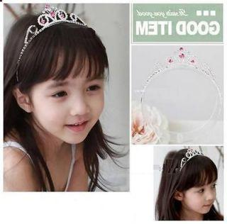 Bridal Wedding Flower Girl Pink crystal Rhinestone tiara crown