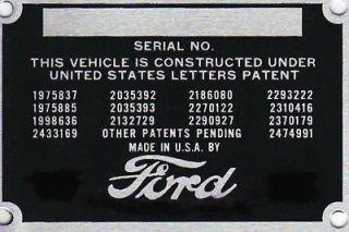 car truck rat rod street rod id info plate 1923 1924 1926 1926 1927