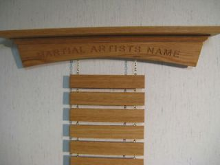 Personalized Oak Arch Martial Arts Shelf Belt Display Rack, Karate