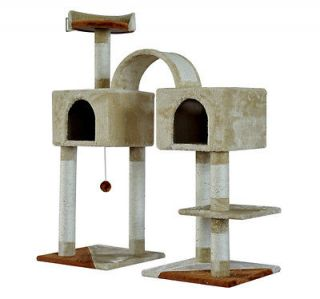 New 46 Cat Scratch Tree Pet Condo Post Tower With 2 Bedroom Base Toy