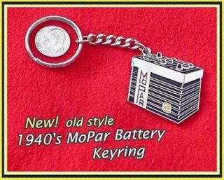 1940s Mopar Battery Keychain Chrysler Plymouth Dodge DeSoto 1950s