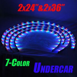 Color LED Under Glow Car Underbody Neon Strip Lights Kit 2x 24 & 2x
