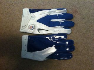 White/Blue Nike NFL Equipment Vapor Carbon Football Gloves Mens Size X