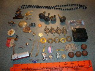 Junk Drawer Lot Train, Necklace, Earring, Keys, Pins, Plastic