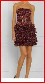 BCBG AZALEA MULTI RAW EDGED PETAL ORGANZA STRAPLESS BELT DRESS 6 NWT $