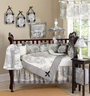BLACK TOILE BABY GIRL BOY DISCOUNT BOUTIQUE CRIB BEDDING COMFORTER SET