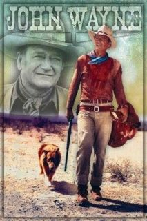 POSTER 60x90cm cowboy with dog & gun western Long Live The Duke NEW