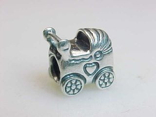 ESTATE STERLING SILVER BABY CARRIAGE BEAD SLIDE CHARM SIGNED ALE