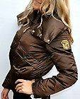 NEW Womens size M Medium Baby Phat brown coat winter down filled Gold