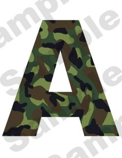 GREEN BROWN CAMO ALPHABET LETTER NAME HUNTING NURSERY BABY WALL