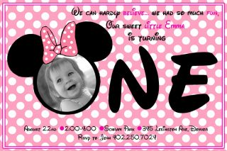 Photo Pink Polka Dot Minnie Mouse First 1st Birthday Invitations cards