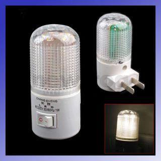 White Light AC Powered Wall Plug in 6 LED Night Light Saving Energy