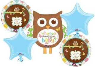 WHO LOVES YOU BABY OWL BABY SHOWER BALLOONS BOUQUET SUPPLIES