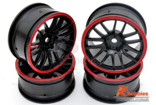 Racing Touring DRIFT Car 14 Spoke Sporty Wheels Rims 4p Red / Black