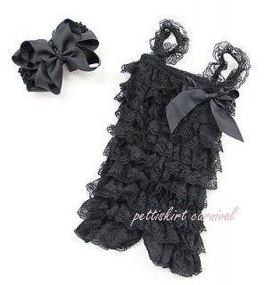 Baby Girls Black Lace Petti Posh Rompers Straps Huge Bow Headband 2pc