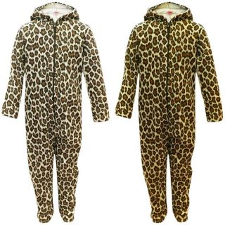 Girls Leopard Print All In One Jumpsuit Animal Onesie Size 2 13 Years