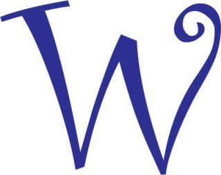 Letter W Initial Vinyl Car Decal Window Sticker