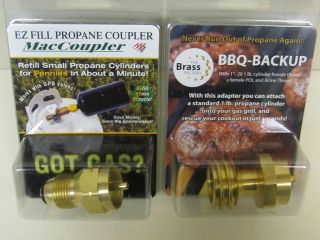 Propane Tank Refill Adaptor & BBQ Grill Backup Combo Pack for Home or