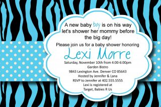 Blue Zebra Print Polka Dot Baby or Bridal Shower Invitation Card