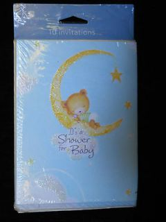 10 Baby Shower Invitations Teddy Bear Invite Cards & Envelopes W Guest