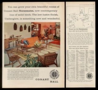1959 Conant Ball Norsemates modern furniture sofa chair table desk